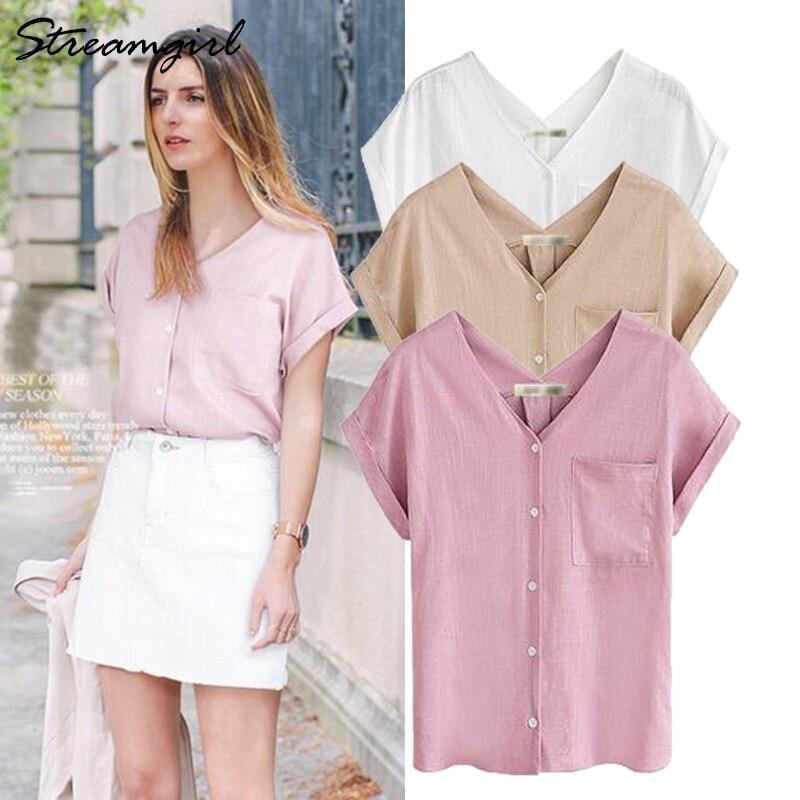 Summer Cotton Linen Shirt Women Plus Size Short Sleeve Woman Summer Blouse Shirt With Pocket White Linen Blouse Women Blouses