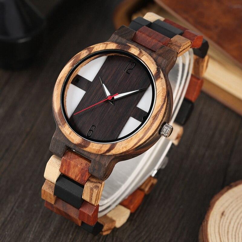 Antique Men's Wood Watches Vintage Ebony Wood Clock Male Unique Mixed Color Wooden Adjustable Band Quartz Woody Unique Watches