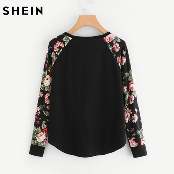 SHEIN Floral Raglan Sleeve Curved Hem Womens Tee Shirts Autumn Womens T shirts Casual Ladies Black Long Sleeve T shirt 1