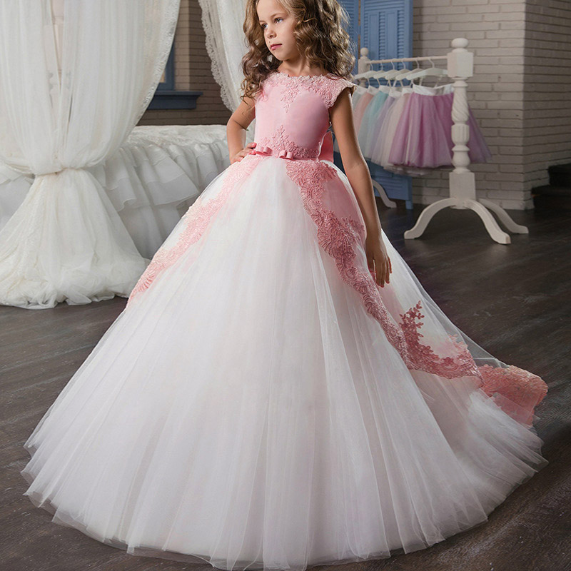 Flower Big Bow Long Prom Gowns Teenagers 3-14 Yrs Dresses for Girl Children Party Clothing Kids Evening Formal Dress for Wedding