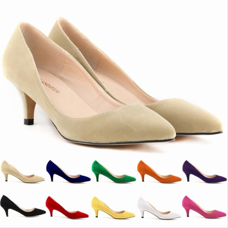 Women Pumps Suede Pure Color Women Shoes Thin Heels Pointed Toe Women High Heel Wedding Shoes Luxury Top Fashion Sale