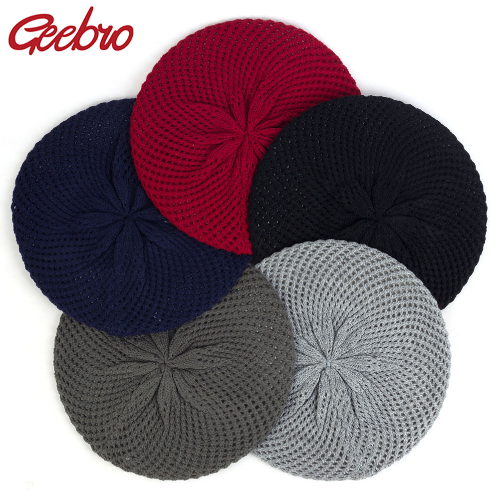 Geebro Spring Winter Knitted Wool Berets Flower Double Layer Hats Warm Hats For Women Female 2019 Fashion Turban Girls Caps