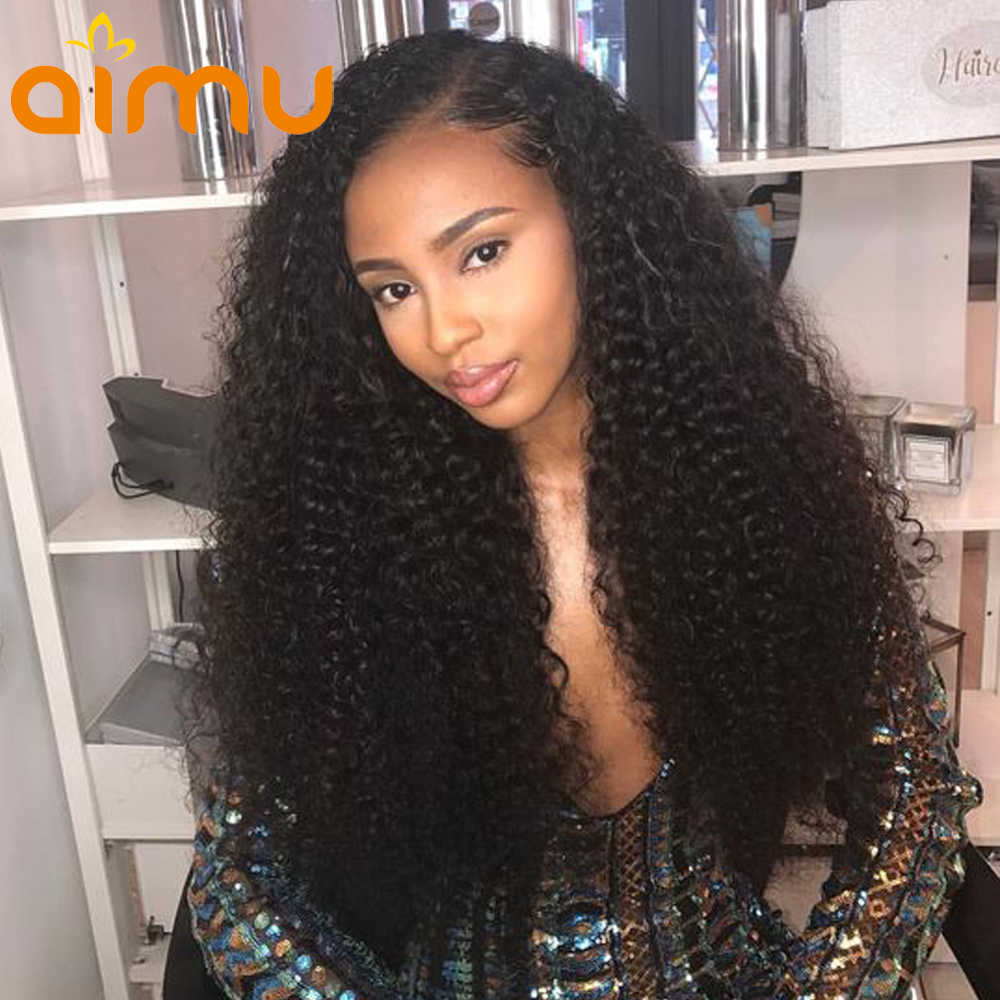 250 Density Lace Front Human Hair Wigs For Black Women 13X6 Pre Plucked Mongolian Virgin Afro Kinky Curly Wig With Baby Hair