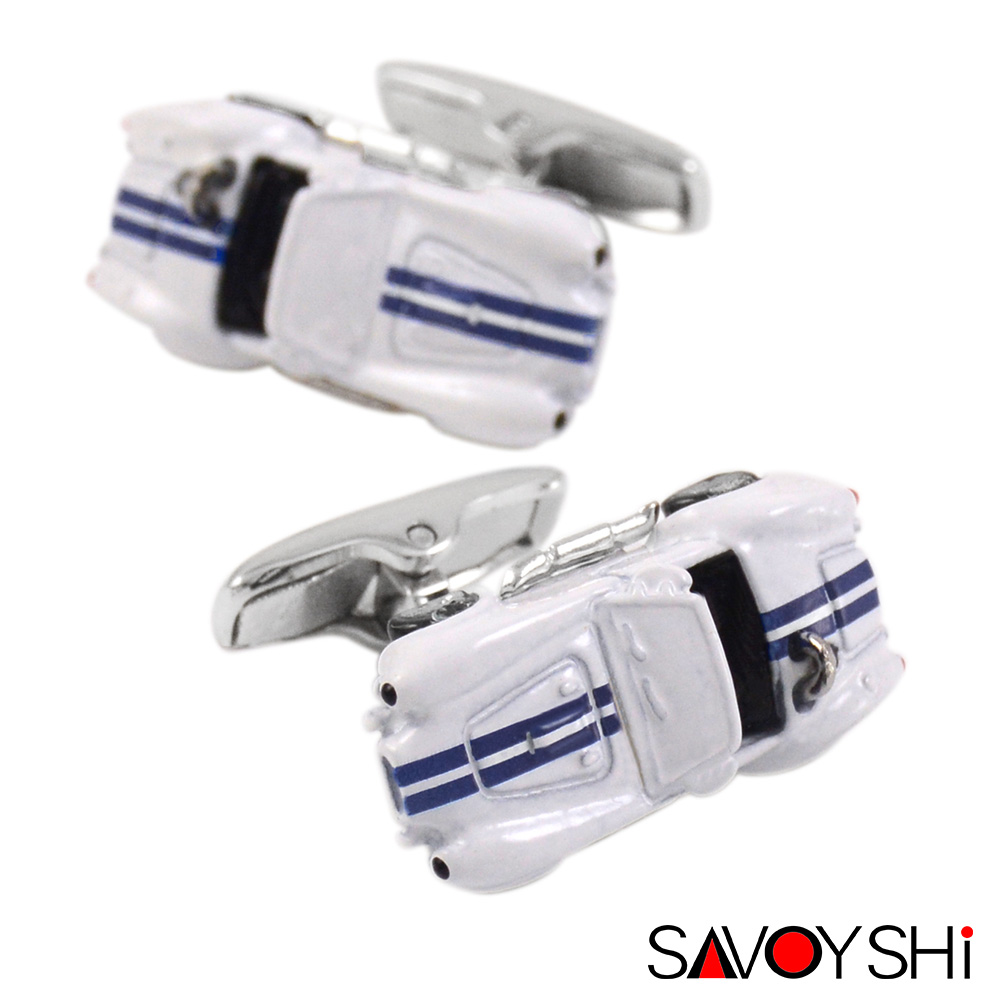 SAVOYSHI 3D Racing Car Model Manchetknapper til Herre Shirt Manchet bottons Høj kvalitet Nyhed Emalje manchetknapper Mode smykkedesign