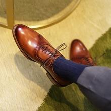 QYFCIOUFU 2019 Handmade Retro Design formal shoes men Luxury Wedding Male Oxford Footwear Genuine Leather Man Brogue Dress Shoes