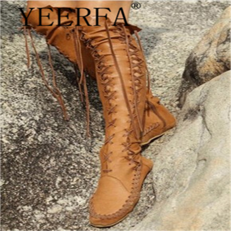 Size 34-43 winter boots women Low Heels Knee High Women Boots Lace Up Thick Heels Women Shoes Soild Autumn Platform Motorcycle 2018 new fashion ankle boots autumn winter women boots high heels boots lace up women shoes large size 34 43