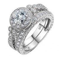 Фирменная Новинка Винтаж Jewelry Для женщин мужчины кольцо 2ct AAAAA Циркон CZ стерлингового серебра 925 женский Обручение обручальное кольцо