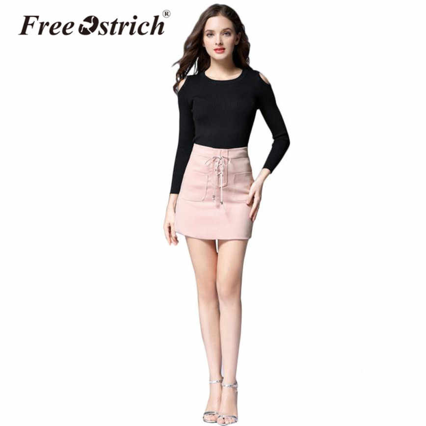 2fe5b01c3eb Free Ostrich Autumn Pencil Skirt High Waist Mini Skirt Women Lace Up Casual Solid  Elegant jupe