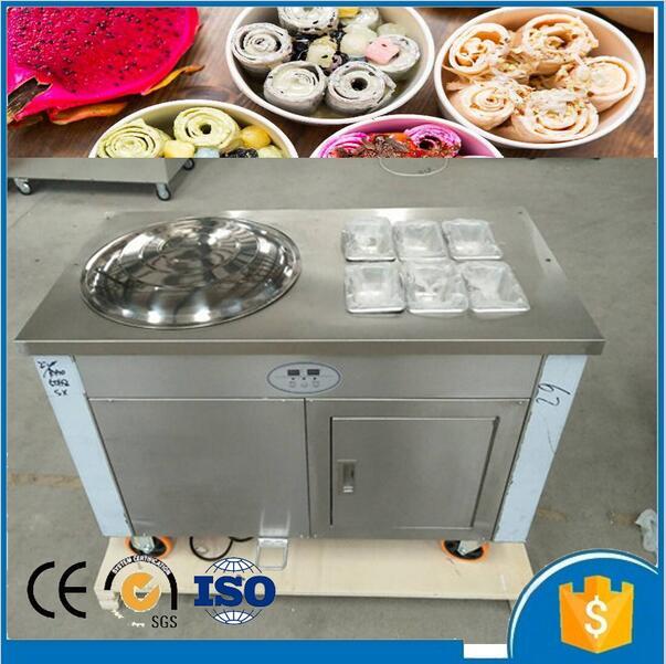 R410A réfrigérant 450mm thaïlande plat casserole frite machine à crème glacée avec armoire de conservation fraîche et réservoirs de refroidissement