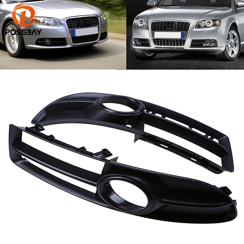 POSSBAY Car Front Bumper Lower <font><b>Grill</b></font> Hood Fog Light Mesh Cover for <font><b>Audi</b></font> <font><b>A4</b></font> <font><b>B7</b></font> sedan/Avant/Cabrio 2005-2009 Coche Racing <font><b>Grill</b></font> image