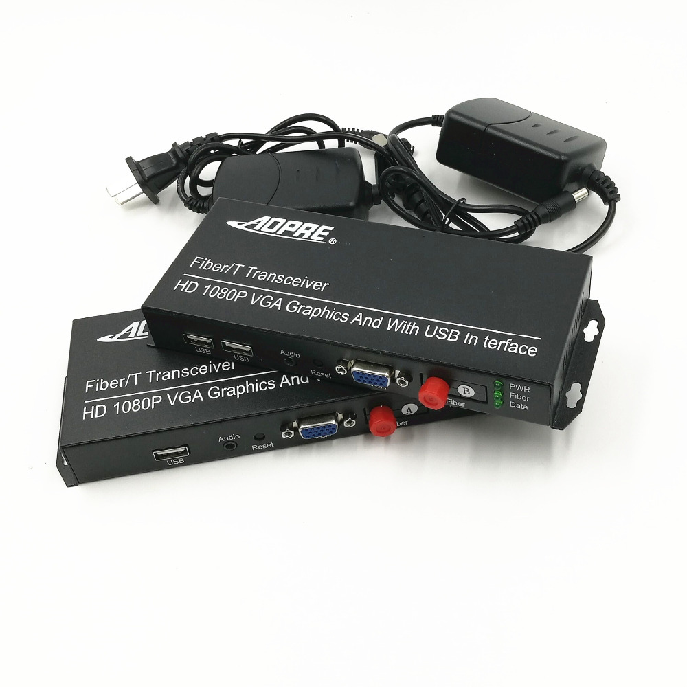 1 PAIR KVM HD 1080P video Optical Multiplexer Fiber Optic Extender VGA / USB / Keyboard / Mouse / Audio Single Fiber 20 KM FC