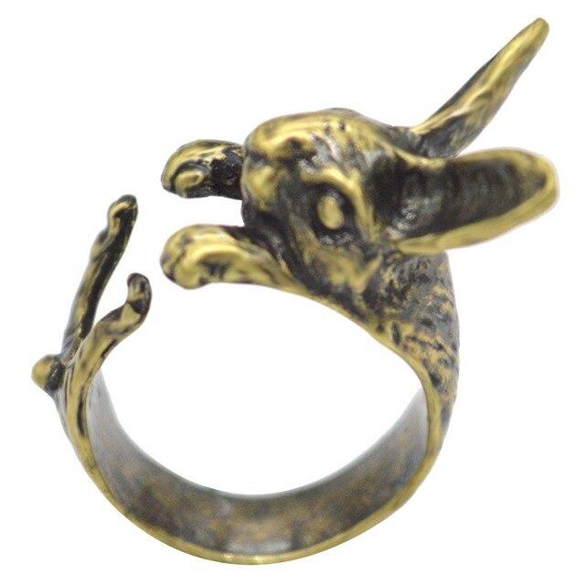 Ajustable QIAMNI Vintage Hippie Chic conejo hecho a mano conejo Animal nudillos anillos para las mujeres dije para chicas regalo de joyería de moda 5