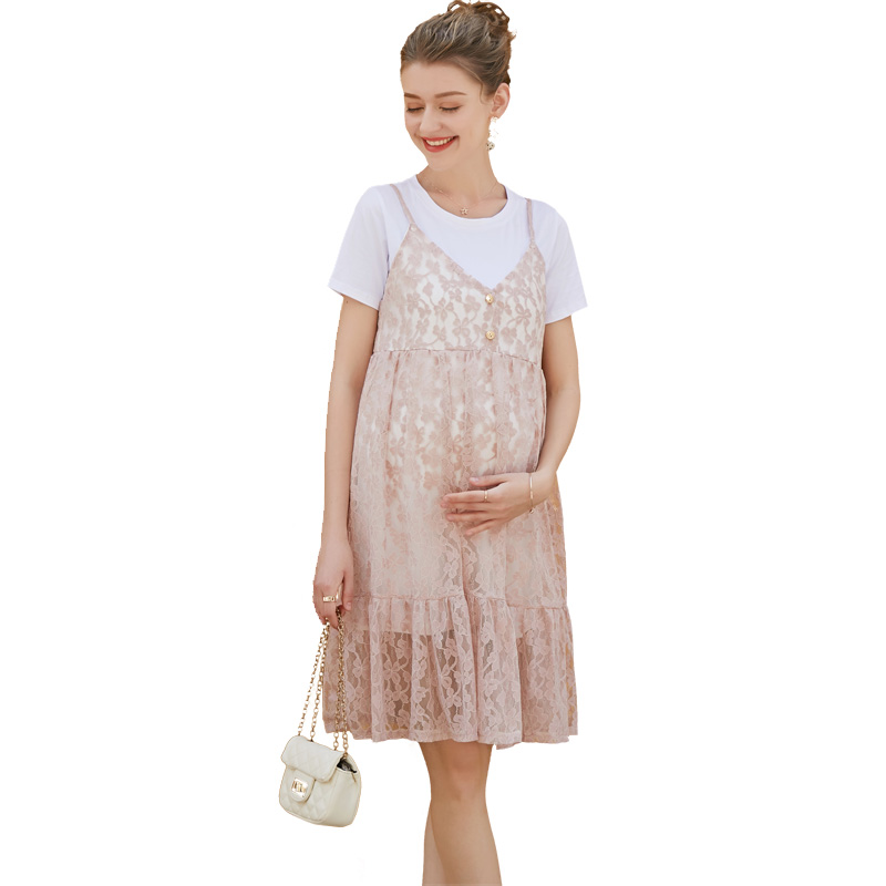 Pregnant Women Summer Tank Lace Dress Fashion 2018 New Summer Button Hollow Out 2 Piece Dress Set Maternity Cotton Hot Clothing new europe new 2018 spring summer pregnant women causal sexy v neck long flare sleeve hollow out lace dress maternity clothes page 6