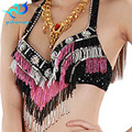 New Arrival Twinkling Beaded Sequin Belly Dance Bra Top Sexy Stage Performance clothing Beaded Fringe Dancing Costume Bra