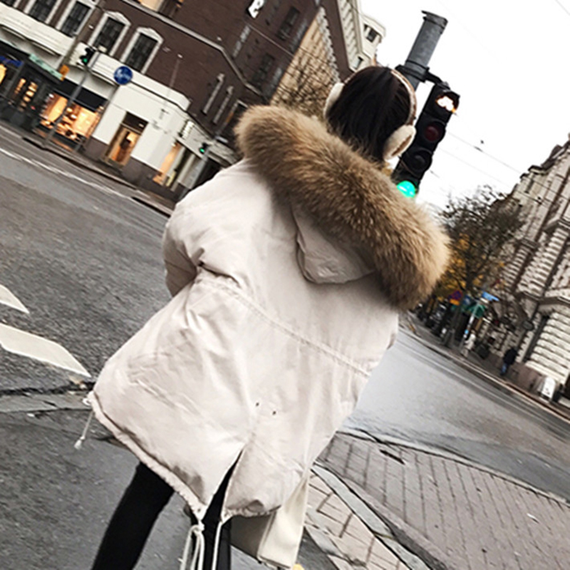 2019 Winter Women Hooded Coat Fur Collar Thicken Warm Long Jacket Women's Coat Girls Long Slim Big Fur Coat Jacket Cotton   Parka
