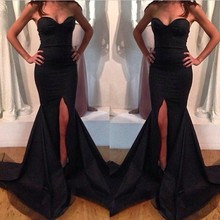 Sexy Black Sweetheart Sleeveless Side Slit Floor Length Mermaid Satin Evening Dresses Party Gowns