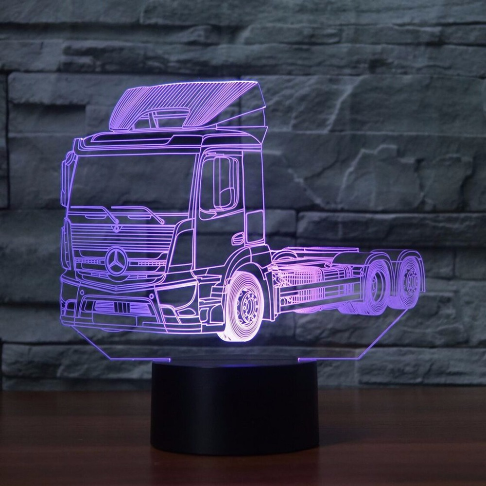 3D LED Truck Vehicle Shape Desk Lamp 7 Color Changing Autotruck NightLight Luminaria Bedroom Decor Sleep Lighting Car Fans Gifts