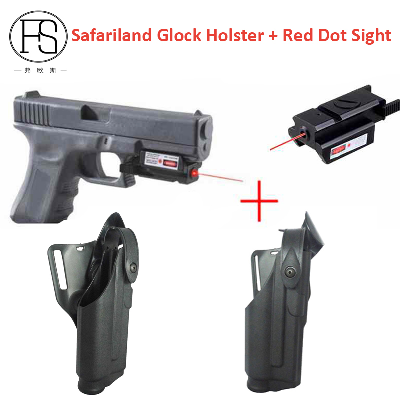 Good Quality Glock Pistol Waist Holster Light Bearing For Glock 17 19 22 23 31 32 + Mini Red Dot Laser Sight For 20mm Rail Gun