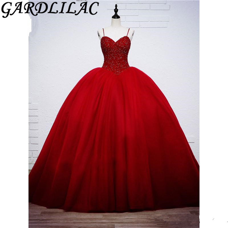 Gardlilac Red Spaghetti Strap Ball Gown Quinceanera dresses Tulle Bead Sleeveless vestido 15 anos