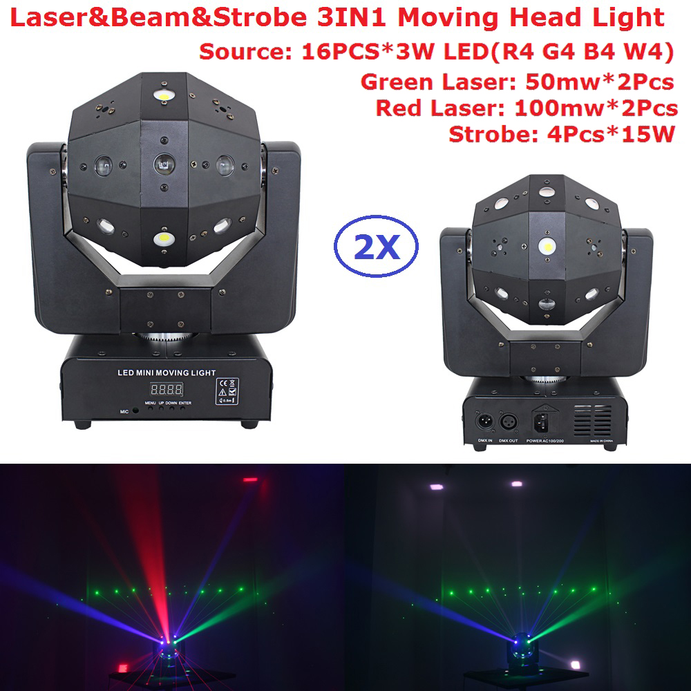 2Pack Newest 4X15W Strobe Beads 16X3W RGBW Single Color LED Moving Head Beam Light With RG