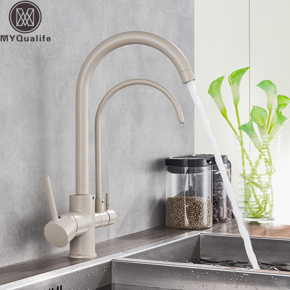 Beige Kitchen Faucet Dual Handle Purification Kitchen Sink Faucet Swivel Spout Pure Water Mixer Tap Drinking Water Faucet dual spout kitchen purification faucet drinking tap pure water faucet hot and cold mixer taps chrome brushed nickle gold