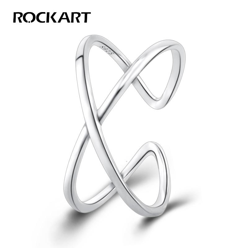 Rockart 100% Sterling Silver 925 Cross Bands Bridal Cuff Finger Ring For Women Korean OL Style Fine Jewelry Adjustable 2018 NEW