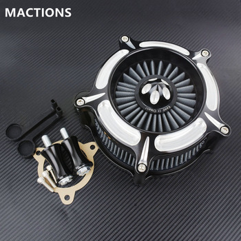 Turbine Spike Aluminum Grey Air Cleaner Air Intake Filter For Harley Dyna Softail Heritage 93-15 Touring Road King Glide 02-07