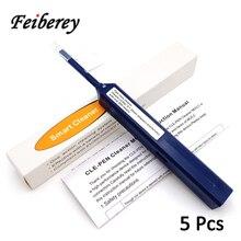 5 Pcs Een Klik Lc Mu Fiber Optic Cleaner Pen Met Reinigingsdoekje En Stofkap Voor 1.25Mm Lc/Mu Glasvezel Connector Cleaner