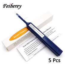 5 pcs One Click LC MU Fiber Optic Cleaner Pen with Cleaning Cloth and Dust Cap for 1.25mm LC/MU Optical Fiber Connector Cleaner