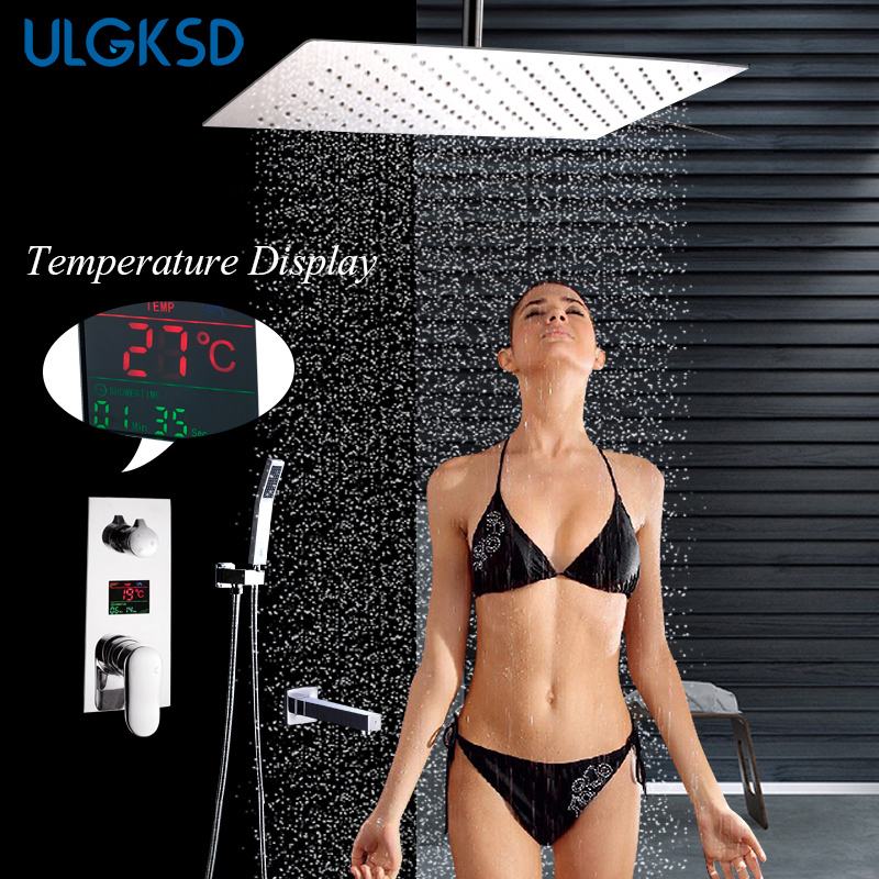ULGKSD 8/10/12/16/20 Rainfall Shower Faucet Stainless Steel W/ Hand Shower Tub Faucets Bathroom Cold and Hot Water Mixer Tap
