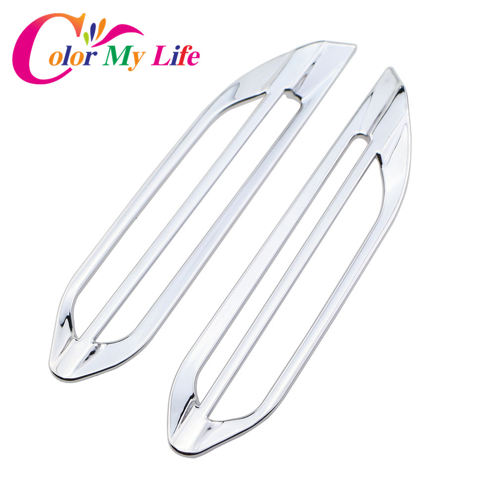 Color My Life 2Pcs ABS Chrome Internal Air Conditioning Vent Trim Sequins Sticker for <font><b>Peugeot</b></font> 2008 <font><b>208</b></font> 2013 - <font><b>2017</b></font> Accessories image