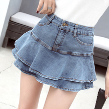 купить Plus Size Jean Mini Skirts womens Summer High Waist Denim Skirt Female Ruffles Pockets jeans skirt women fashion skirts 2019 дешево