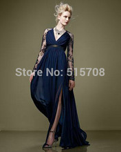 Elegant Royal Blue Lace Chiffon Evening Dress Long Sleeves Sexy V neck Sweep Train Formal Prom Party