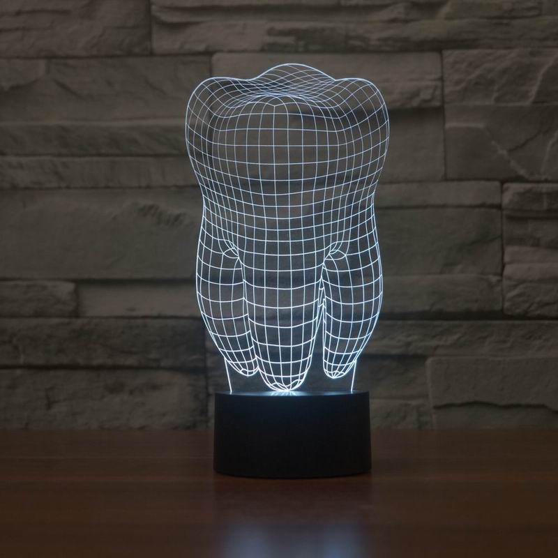 New 3D illusion creative decorative night lamp tooth shape diy - Night Lights - Photo 1