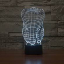 New 3D illusion creative decorative night lamp tooth shape diy atmosphere abs led bulbs 5v holiday night light with 7 color