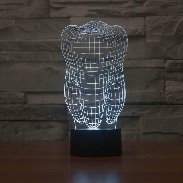Nova ilusão 3D criativo lâmpada decorativa noite forma do dente diy atmosfera abs lâmpadas led 5 v luz do feriado noite com 7 cor