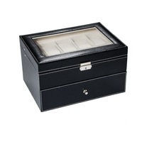 1PC Black Leather Doule Layer 20 Grids Drawer Watch Display Jewelry Storage Box Home Makeup Organizer