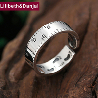 2019 Dainty Adjustable Ring 100% Real 925 Sterling Silver jewelry men women Creative Measuring ruler Foot print Opening Ring R12
