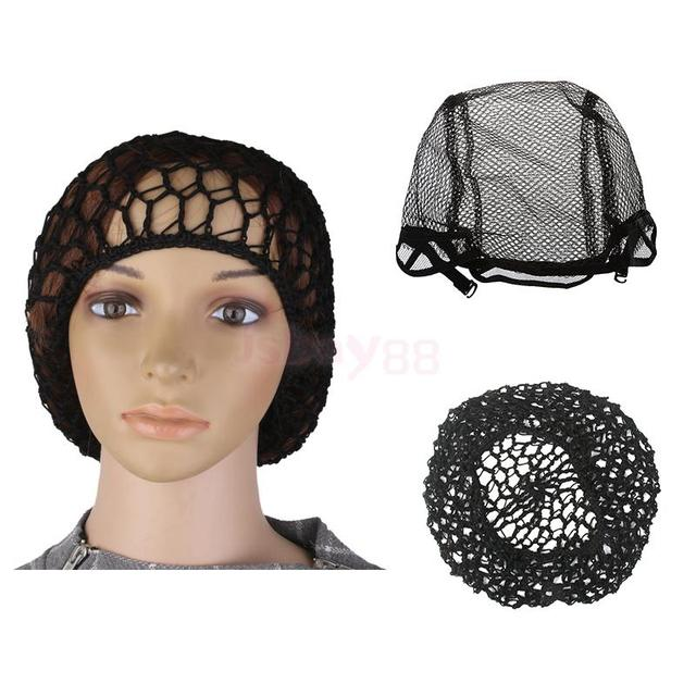 2Pcs Stretchable Fishnet Wig Cap Hair Net Mesh Wig & Weave Elastic Crochet Cap Wig Cap For Making Wigs With Adjustable Strap 3