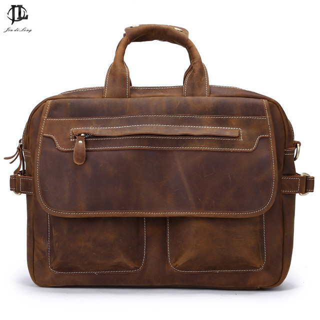 Hot Sales !Men Bags Crazy Horse Leather Shoulder Messager Bags Fashion Casual Large Capacity Men's Briefcase Business Bags