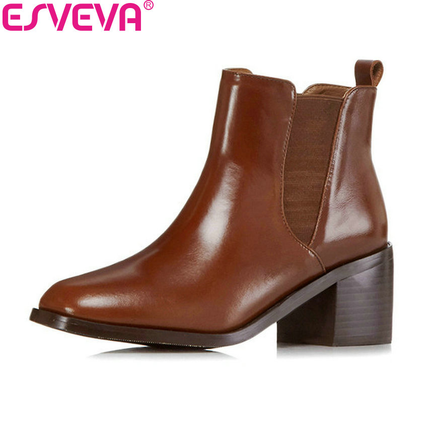 ESVEVA 2018 Women Boots Slip on western style ankle Boots Square High Heels Autumn Shoes square Toe Ladies Boots Size 34-42 esveva 2018 synthetic pu women boots square high heels ankle boots round toe fashion short boots zippers ladies shoes size 34 42