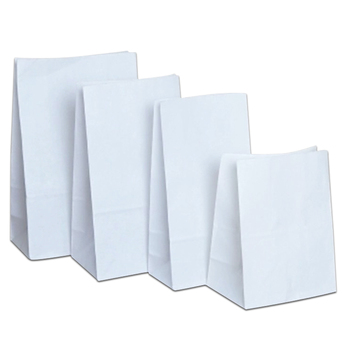 150Pcs White Natural Kraft Paper Bread Bag Flat Bottom Cake Snack Food Cookies Favor Supply 4 Size