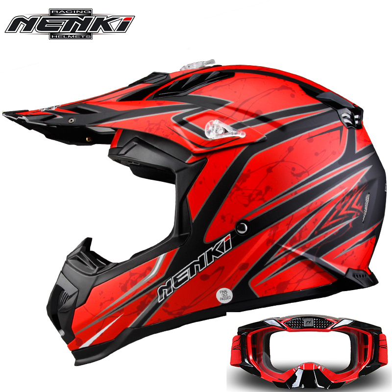 NENKI Fashion Motocross Full Face Helmet Extreme Sports Motorcycle ATV Dirt Bike MX BMX DH MTB Racing Helmet with Goggles 315 dwcx motorcycle adjustable chain tensioner bolt on roller motocross for harley honda dirt street bike atv banshee suzuki chopper