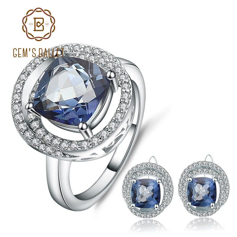 GEM S BALLET 8 06Ct Natural Iolite Blue Mystic Quartz Rings Earrings Set 925 Sterling Silver