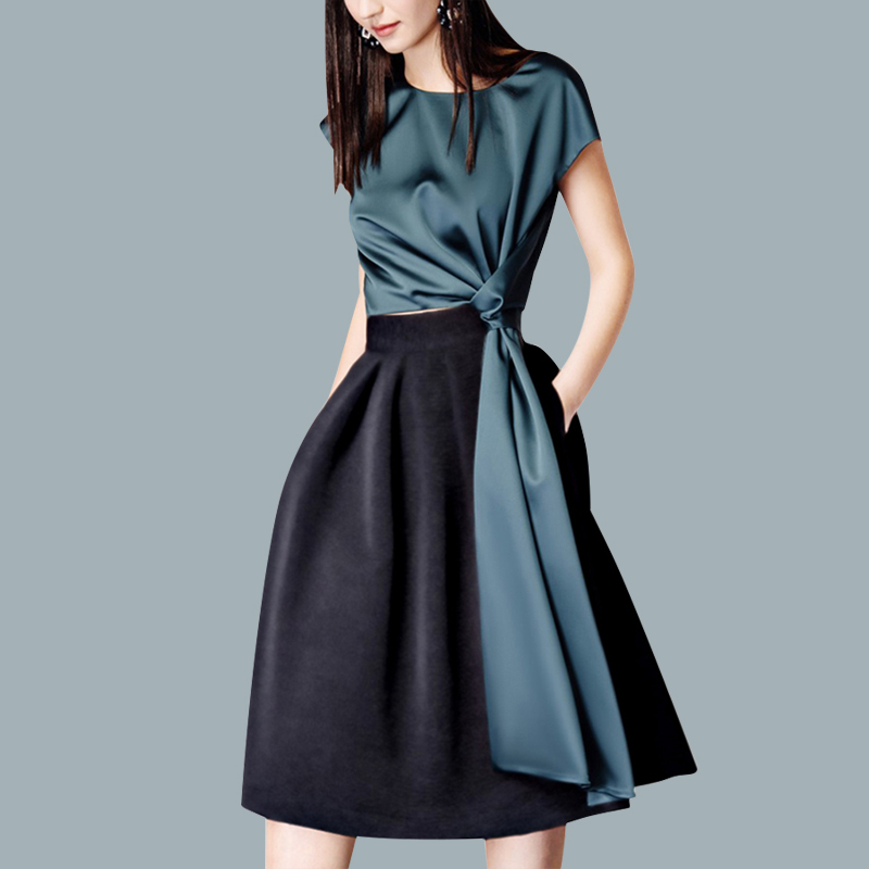 Summer Clothes Women 2018 Small Fragrance Fashionable 2 Piece Suit Short Sleeved Shirt & Skirt Sets Ladies Party Vestidos