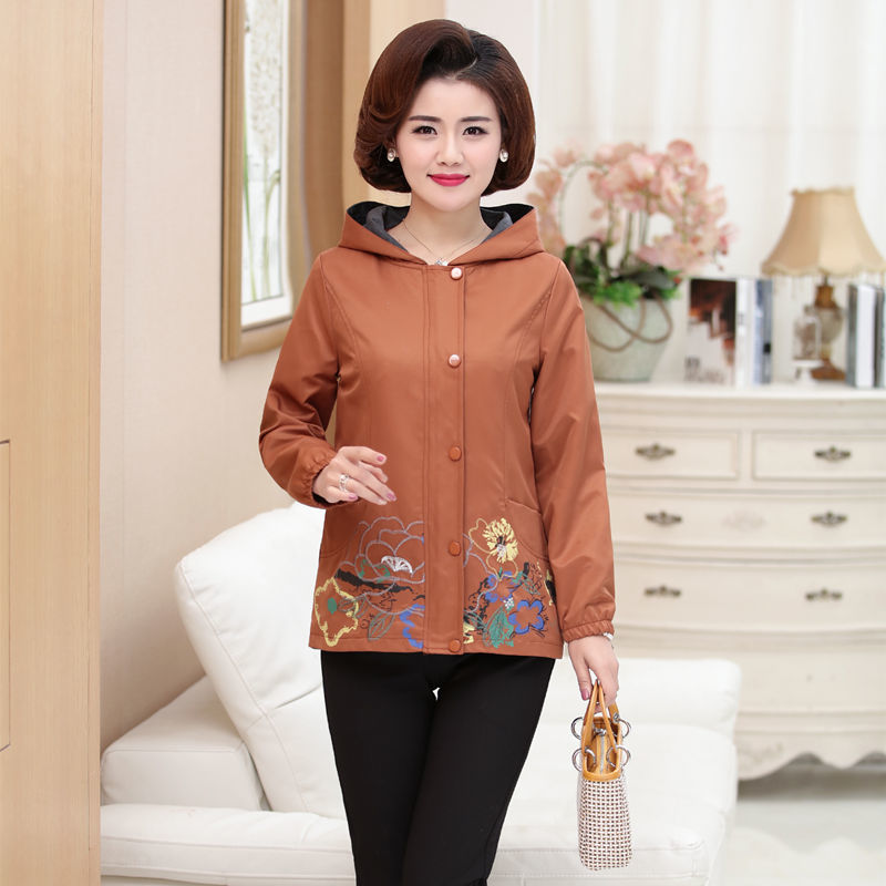 Middle Aged Women Jack Coat Spring Autumn Long Sleeve Hooded Casual Floral Printed Pocket Female Loose