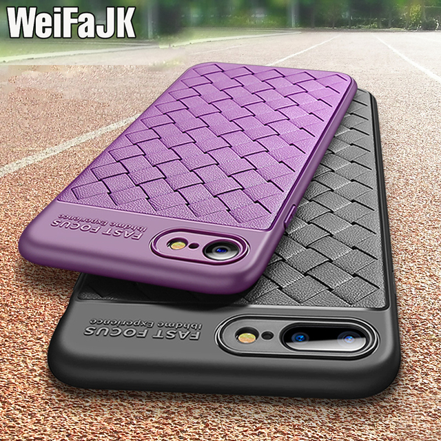 WeifaJK Luxury Grid Weaving Back Case For iPhone 6 6s Plus 7 7 Plus X Cases Soft Leather Silicone Case For iPhone 8 8 Plus Coque
