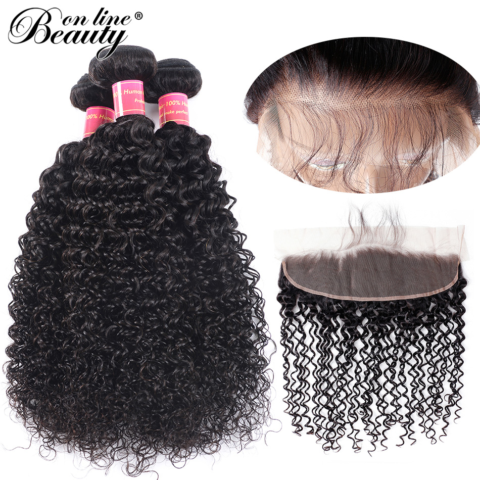 Beauty On Line Curly 3 Bundles With Frontal Pre-plucked Brazilian Hair Weave Bundles With 13*4 Lace Frontal Closure ...