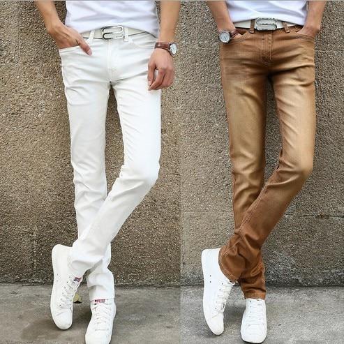 0b8369ce3 Good Stretch Skinny Jeans Slim Fit Pencil Pants Youth Calca Jeans Masculina  Man Jens Black Blue Grey Green Khaki Brown