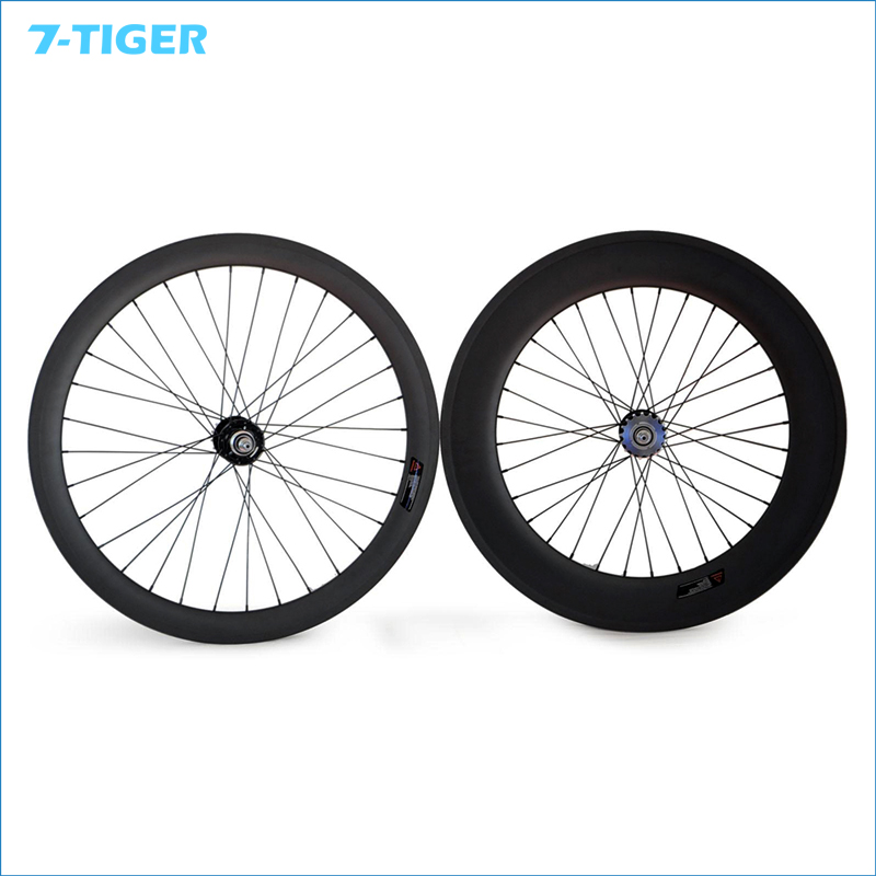 7-TIGER  carbon track fixie wheels 88mm and 50 mm fixed gear bike bicycle wheel single speed bike  Wheelset mtb mountain bike crankset bicycle crank set chain wheel 22 32 42t single speed fixed gear fixie bike crankset
